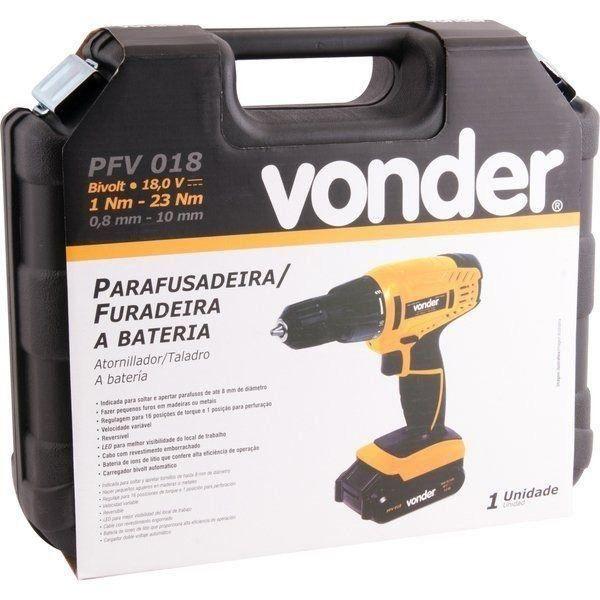 Parafusadeira e furadeira a bateria 18,0 V, bivolt, VONDER