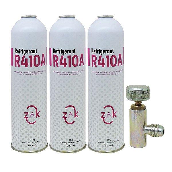 Gás R410A Refrigerant ZAK 600gr descartável - kit 3 peças e registro