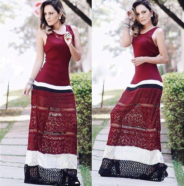 Vestido Trico longo Marsala