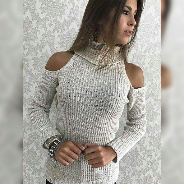 Blusa de trico com ombro de fora