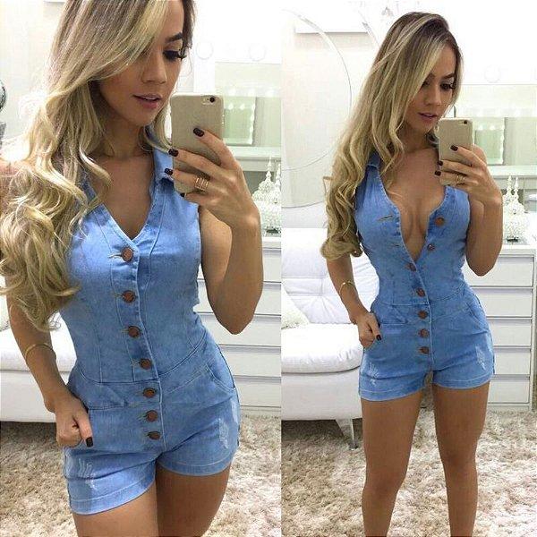Macaquinho Jeans Claro