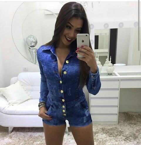 Macaquinho Jeans de manga longa