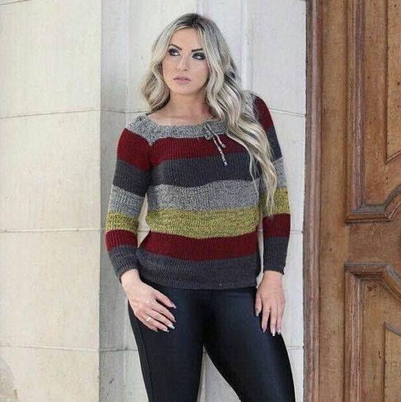 Blusa de trico colorida 01