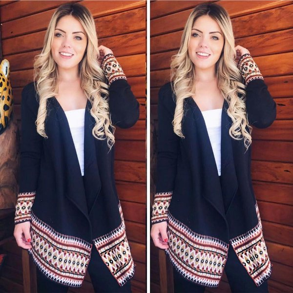 Kimono manga longa trico preto