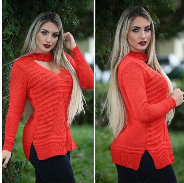 Blusa trico manga longa laranja