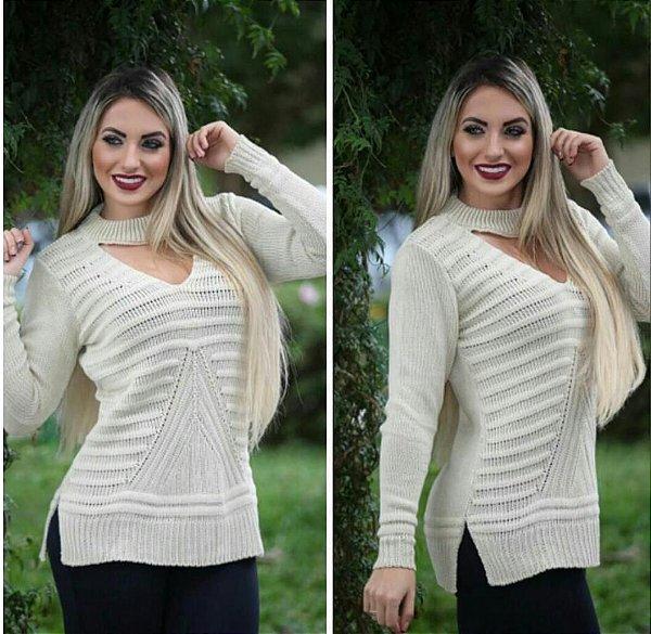 Blusa trico manga longa Bege