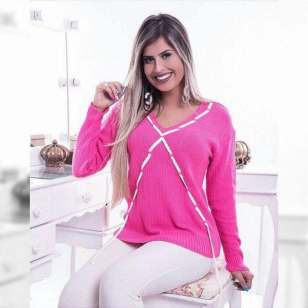 Blusa tricot manga longa com cadarço em X rosa