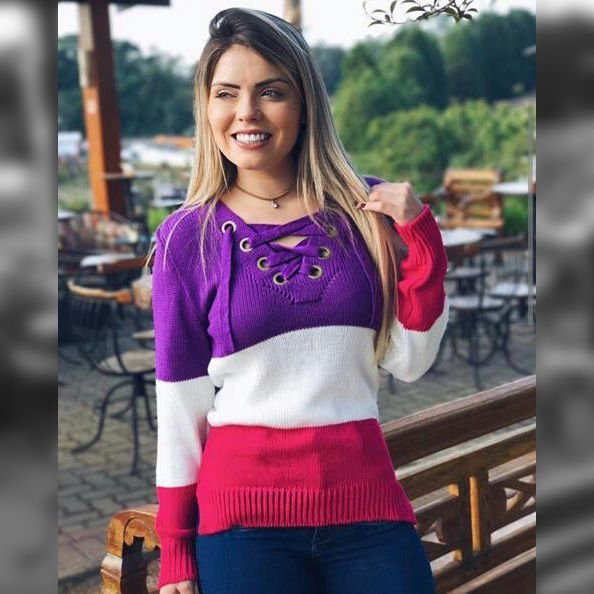 Blusa trico manga longa rosa com lilas