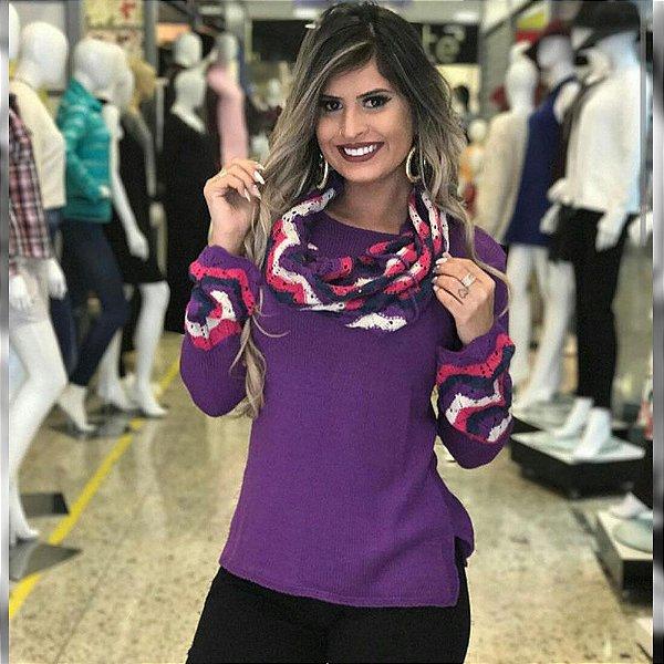 Blusa trico manga longa lilas com cachecol