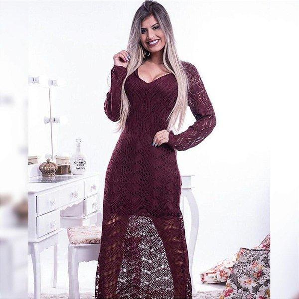 Vestido longo trico marsala