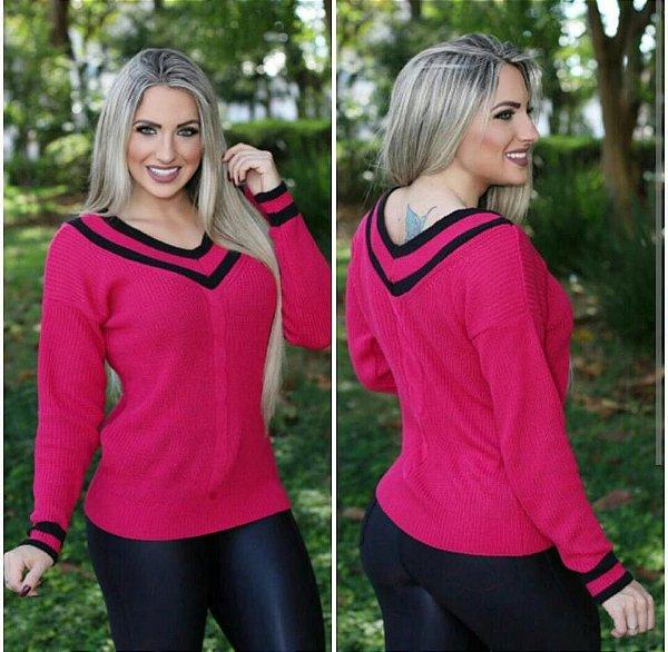 Blusa colegial trico pink com preto
