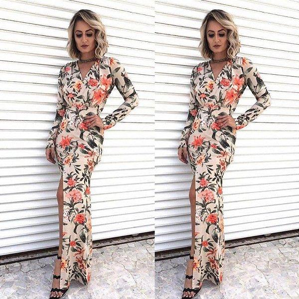 Vestido longo com venda de viscolycra estampado