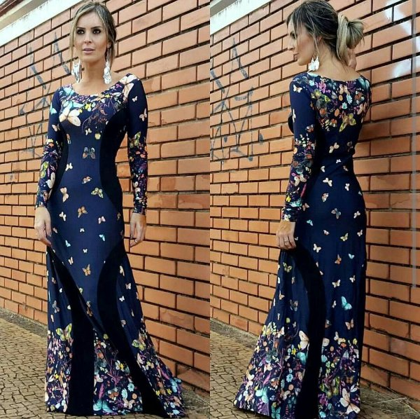 Vestido manga longa borboleta fundo azul marinho