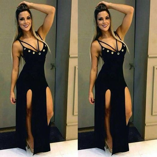 Vestido de Ilhos com fenda