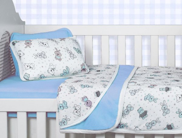 Jogo Lençol Berço Bebê Estampado - Bichinhos Azul - Sulbrasil - 3 Peças