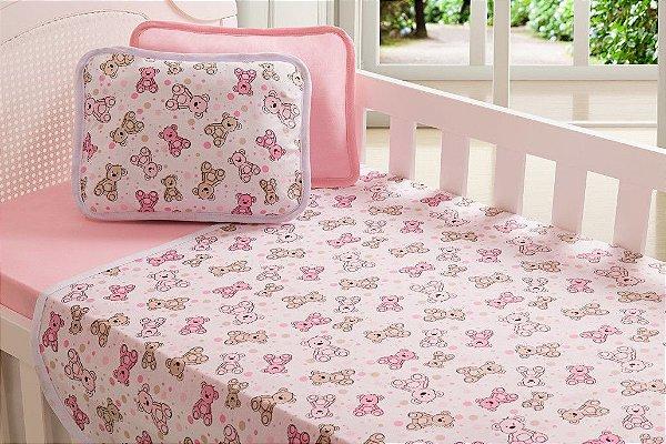 Jogo Lençol Berço Bebê Estampado - Urso Rosa - Sulbrasil - 3 Peças
