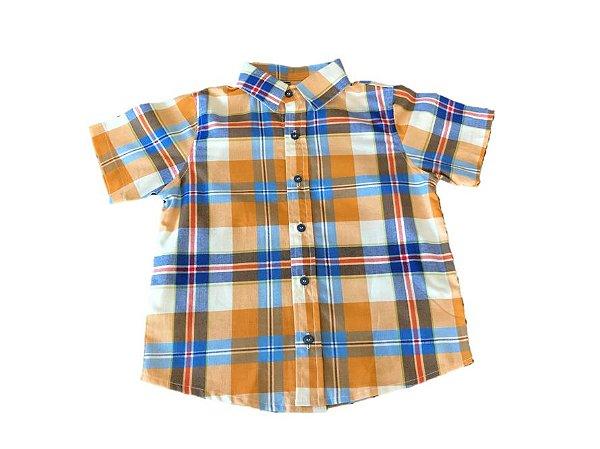 Camisa Social xadrez - laranja/azul