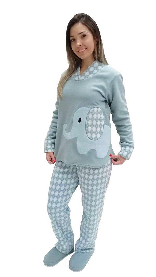 Pijama feminino longo soft quentinho elefante