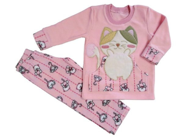 Pijama infantil feminino longo soft gato