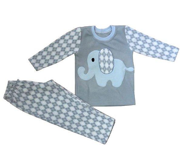 Pijama infantil menino longo soft elefante