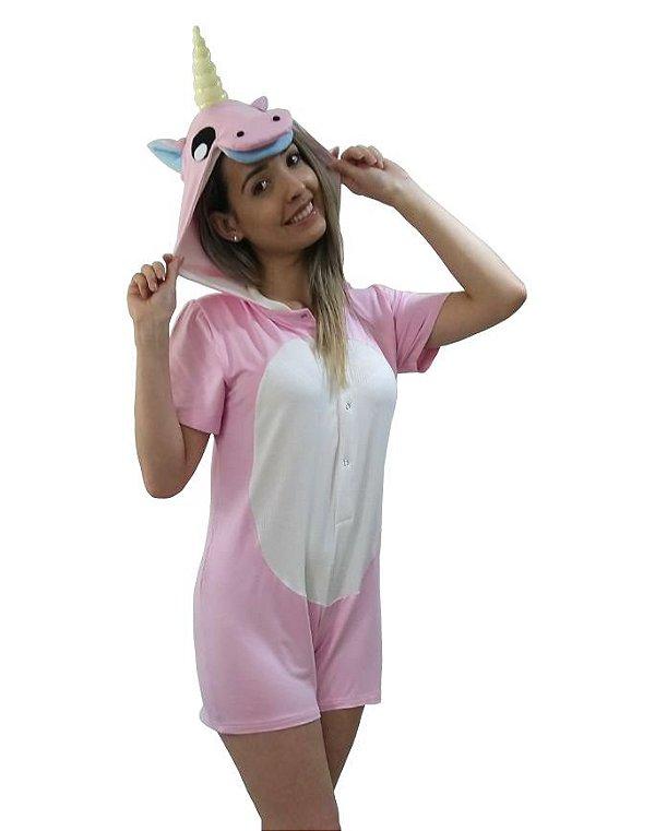 Macacão Kigurumi Unicórnio Pijama infantil menina curto