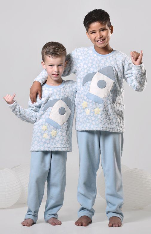 2c97879ec4641c Pijama infantil masculino de inverno soft foguete