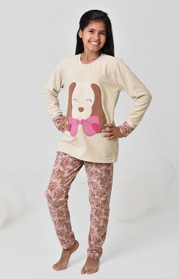 Pijama infantil feminino longo soft cachorro
