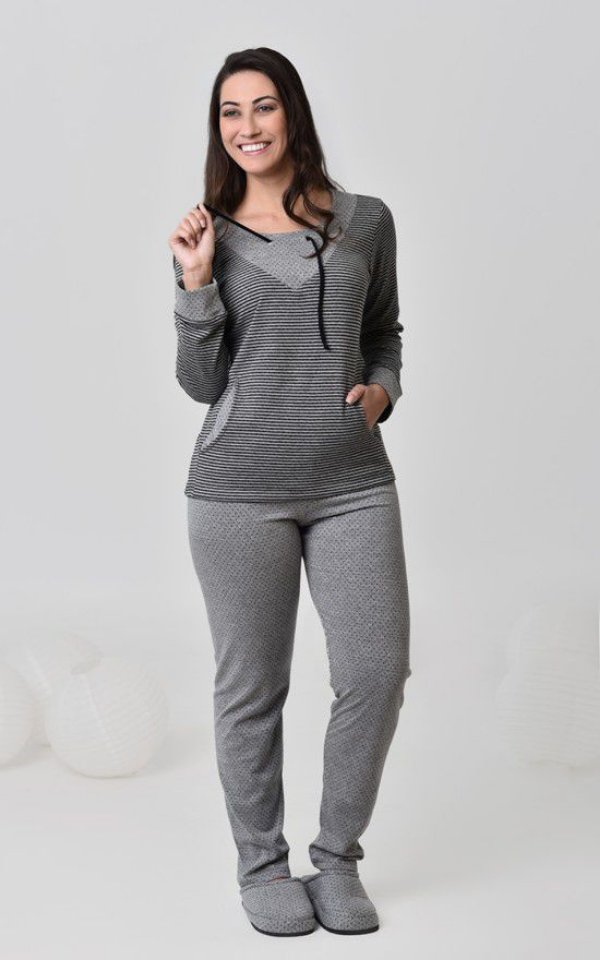 Pijama feminino longo de algodão double face listrado e poá