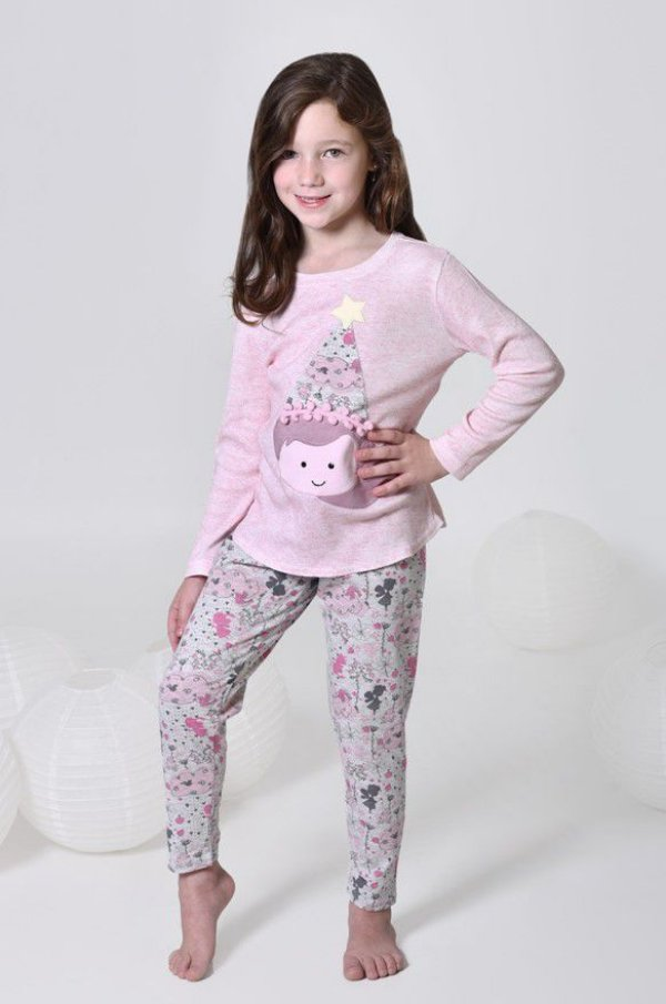 Pijama longo infantil feminino algodão canelado de fada