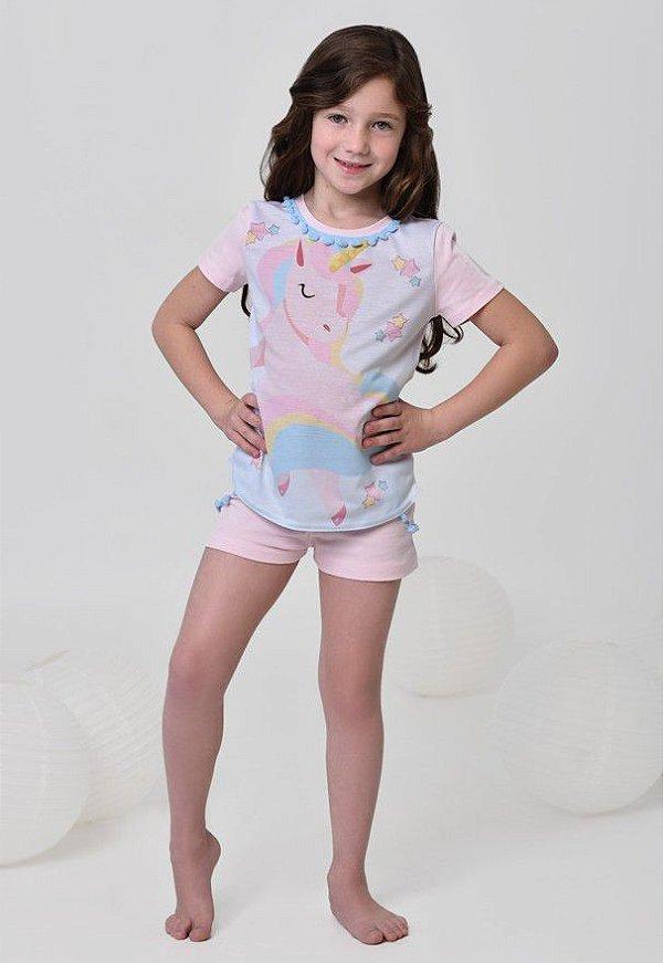 Pijama Unicórnio infantil curto com pom pom