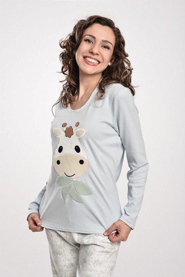 Pijama feminino longo com bordado de girafa Mãe e Filhos
