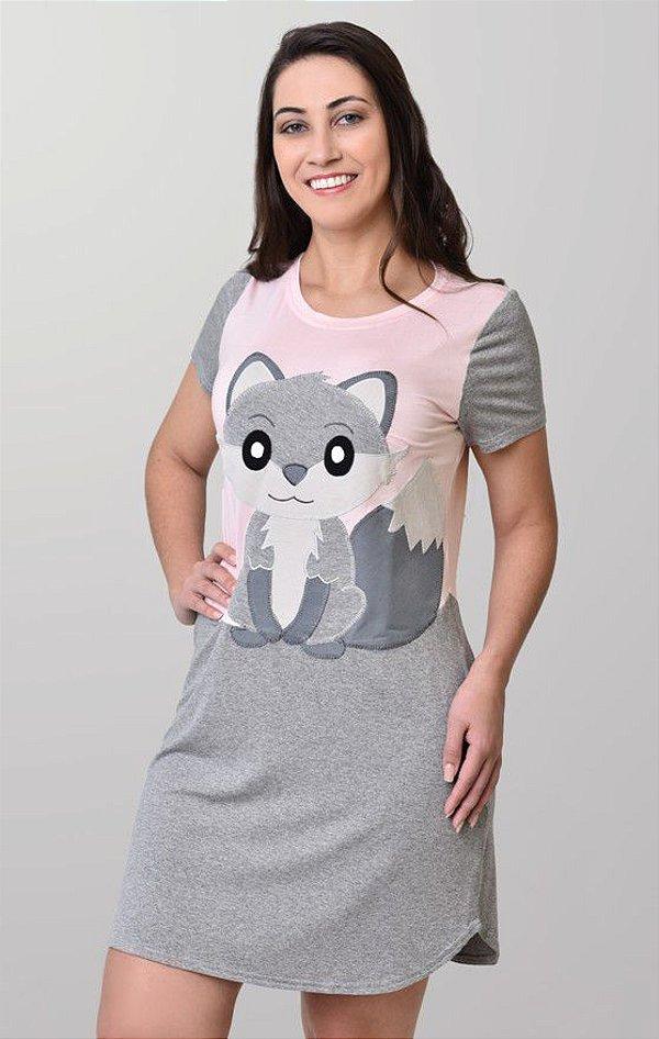 Camisetão feminino com bordado de raposa