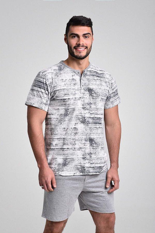 Pijama masculino curto com botão em algodão