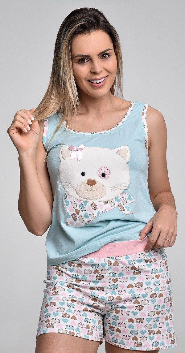 Pijama Unicórnio Feminino curto com pom pom