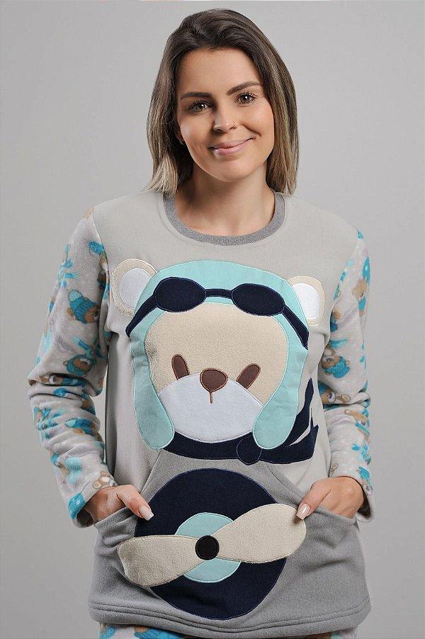 Pijama Urso Aviador Soft Adulto