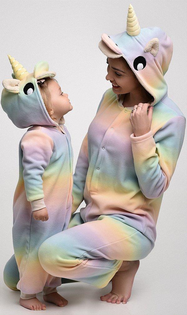Unicórnio Arco Íris Macacão Pijama Inverno Adulto