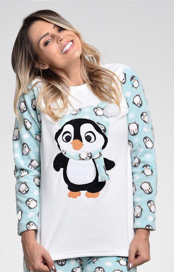 Pijama Inverno Pinguim Micro Soft Feminino