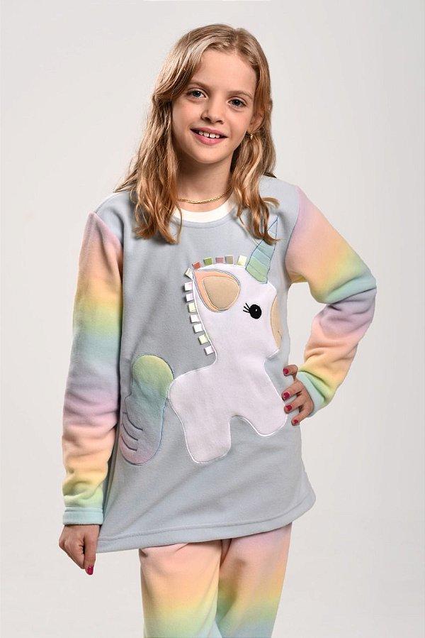 Pijama Inverno Unicórnio Arco íris Infantil