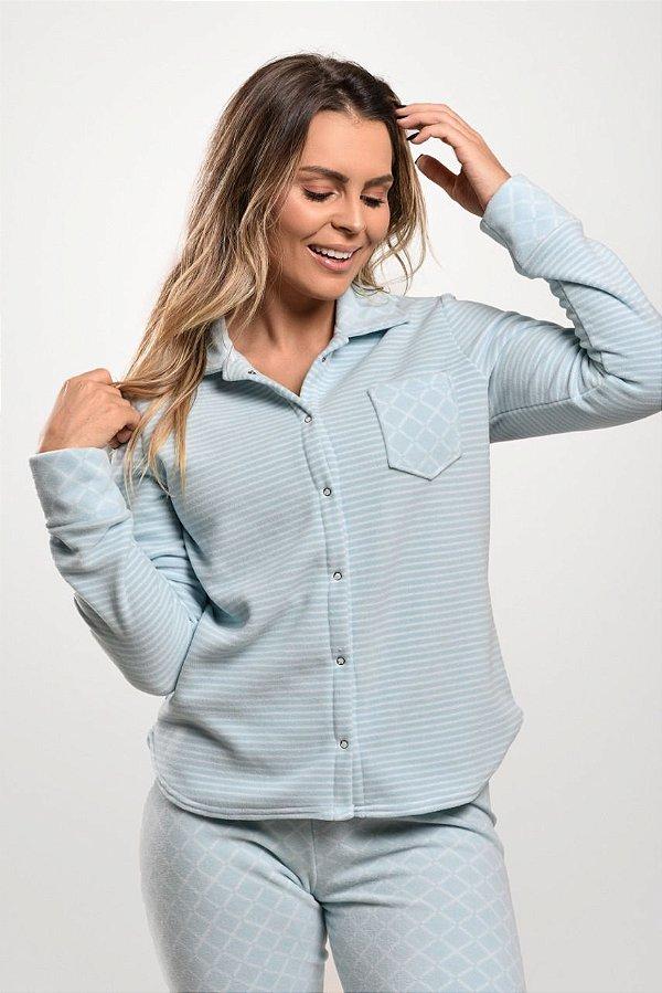 Pijama Inverno Com Botões Amamentação Xadrez azul