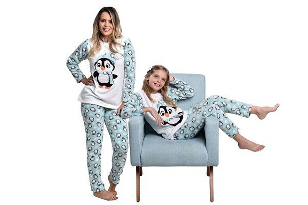 Kit Pijama Soft Mãe e Filha Pinguim
