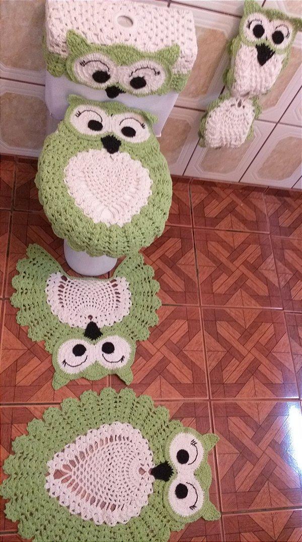 Jogo Tapetes para Banheiro Coruja em Crochê - 5 peças - LuLima-Arte