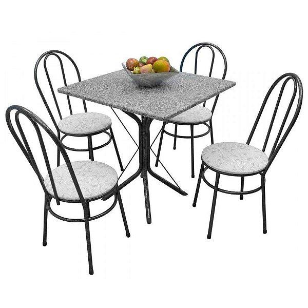 Mesa 4 cadeiras 75x75 Metalmix