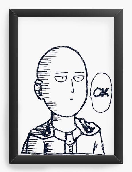 Quadro Decorativo A4(33X24) Anime One Punch Saitama