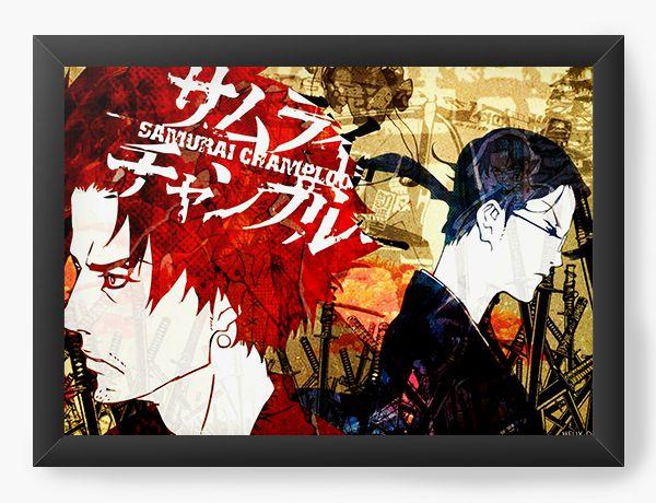 Quadro Decorativo A4(33X24) Anime Samurai Shamploo