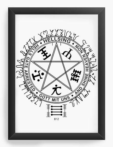 Quadro Decorativo A4(33X24) Anime Hellsing Simbol