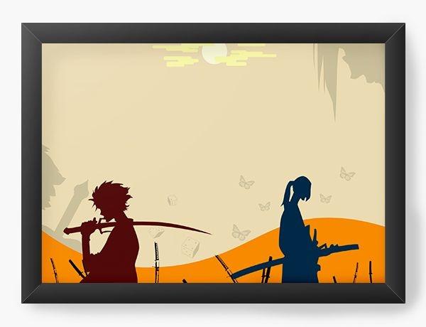Quadro Decorativo A3 (45X33) Anime Samurai Shamploo Fight