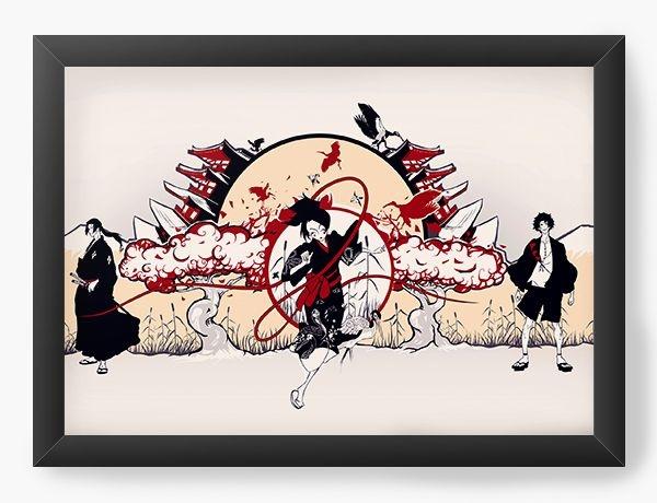 Quadro Decorativo A3 (45X33) Anime Samurai Shamploo Magic