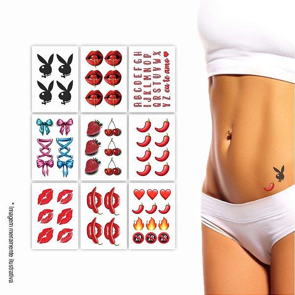 9 Cartelas | Tatuagem Temporária Picante
