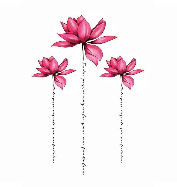 Tatuagem Temporária Flor e Frase   Costas
