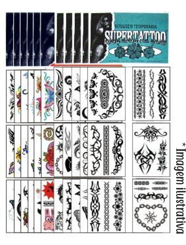 Kit 288 Tatuagens Tribais e Coloridas